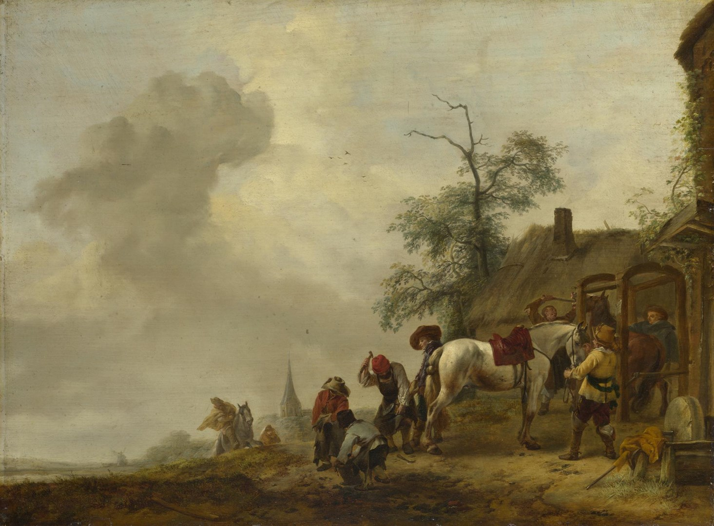 A Horse being Shod outside a Village Smithy by Philips Wouwerman
