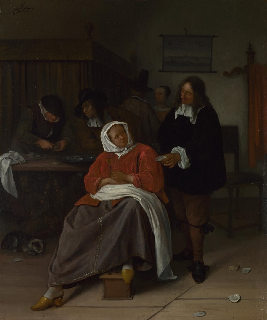 An Interior with a Man offering an Oyster to a Woman by Jan Steen