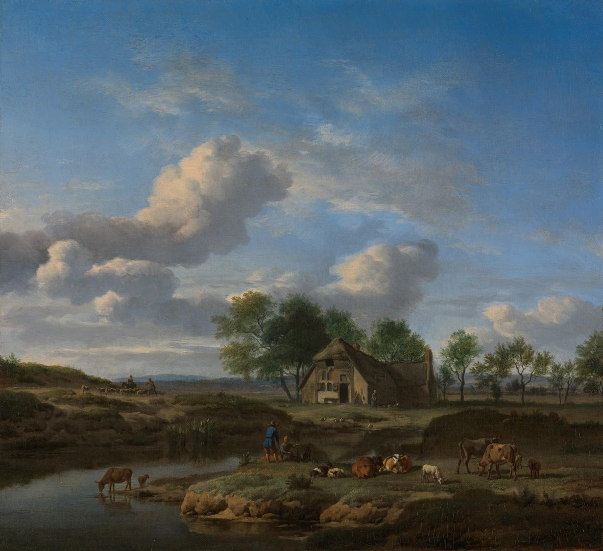 A Landscape with a Farm by a Stream by Adriaen van de Velde