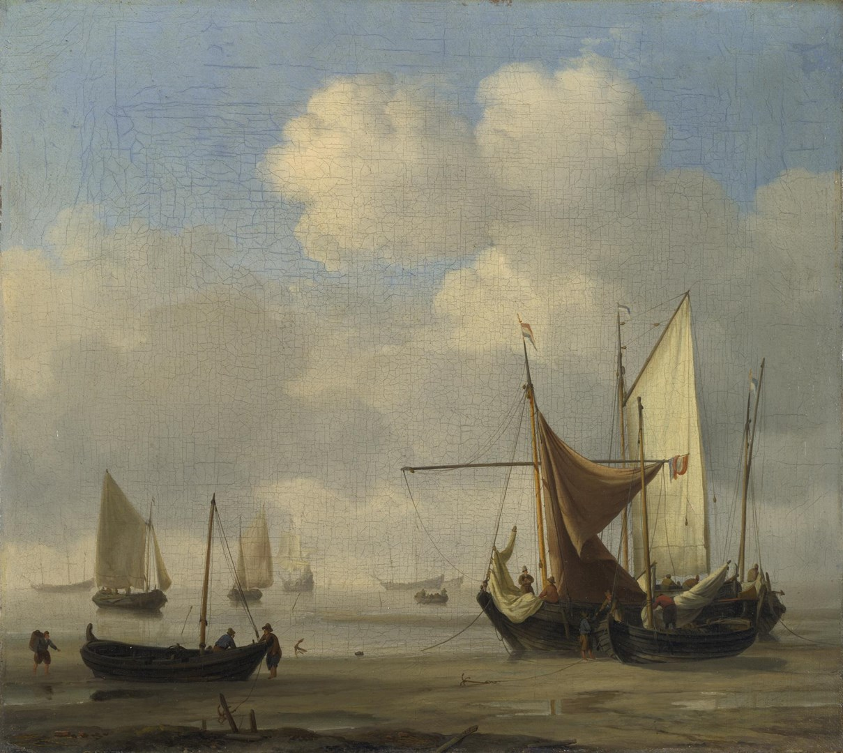 Small Dutch Vessels Aground at Low Water in a Calm by Willem van de Velde