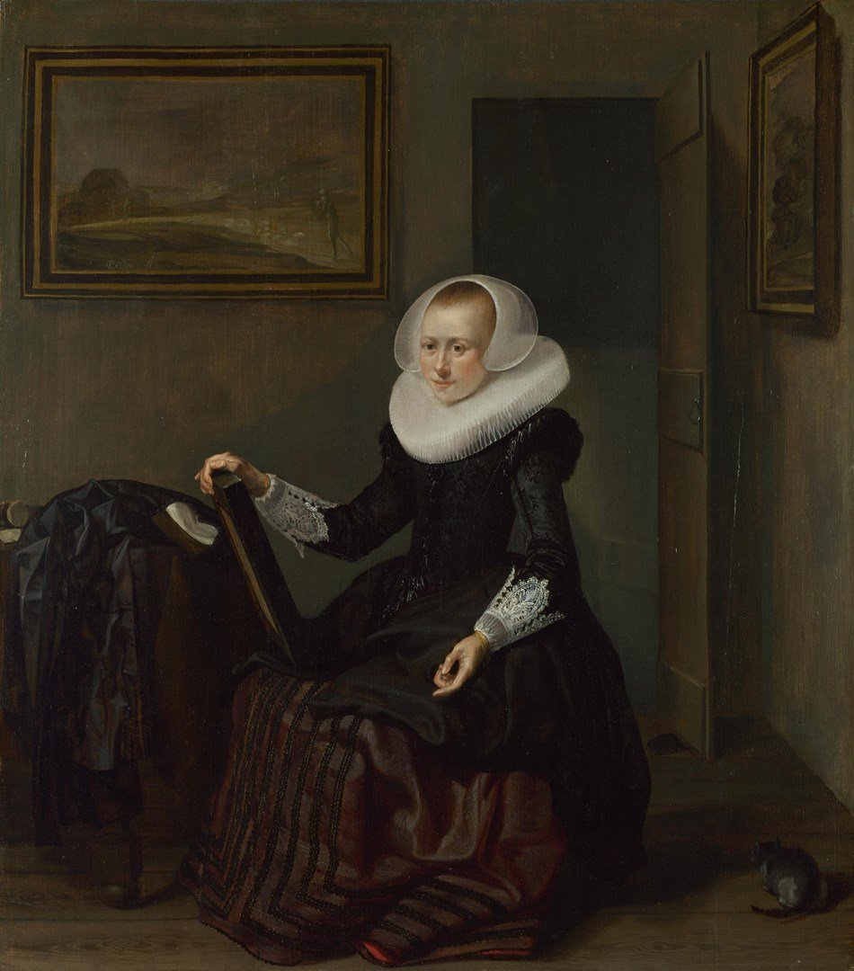 A Woman holding a Mirror by Pieter Codde