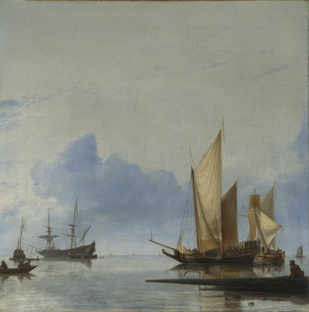 A Dutch Yacht and Other Vessels Becalmed near the Shore by Hendrick Dubbels