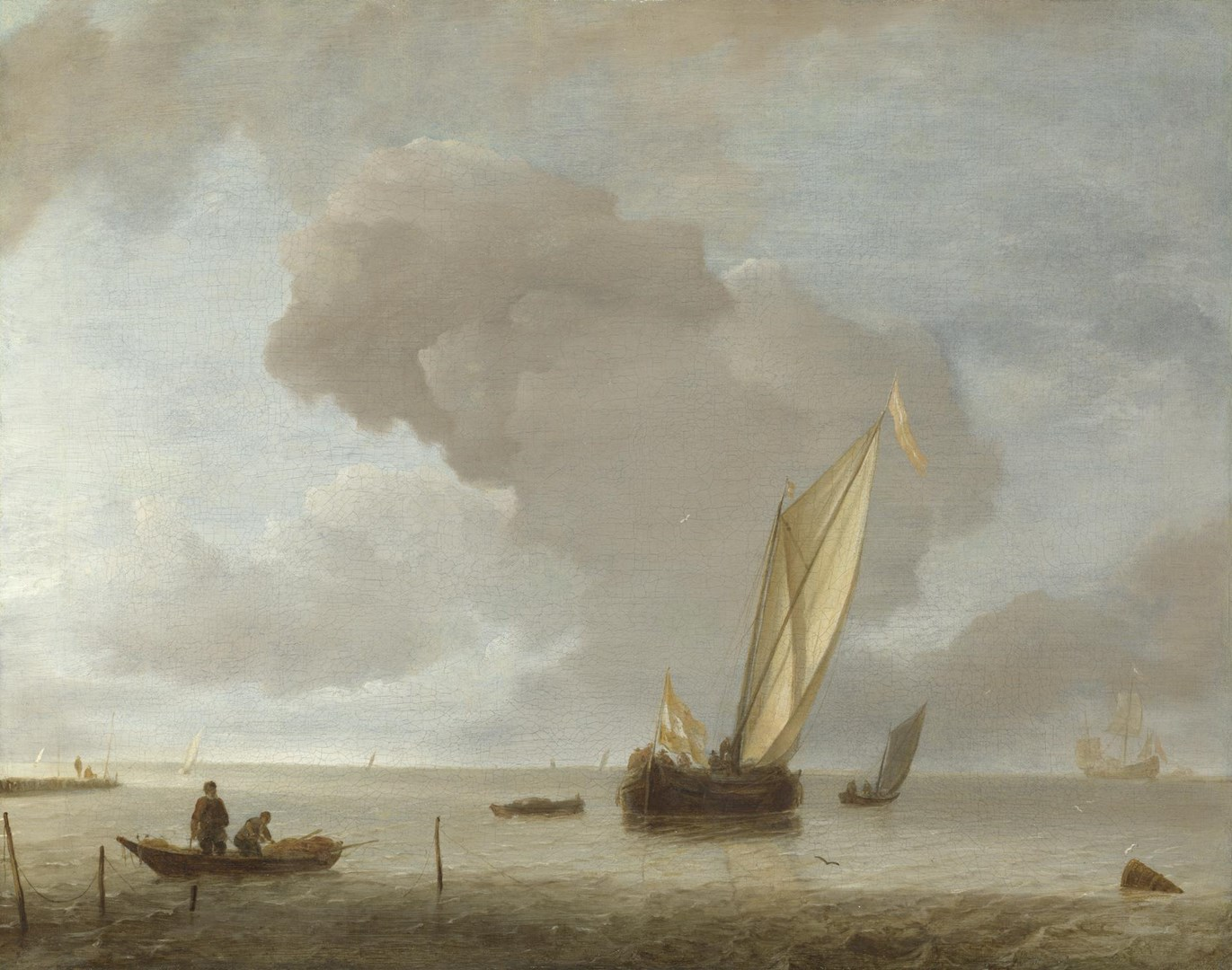 A Small Dutch Vessel before a Light Breeze by Jan van de Cappelle