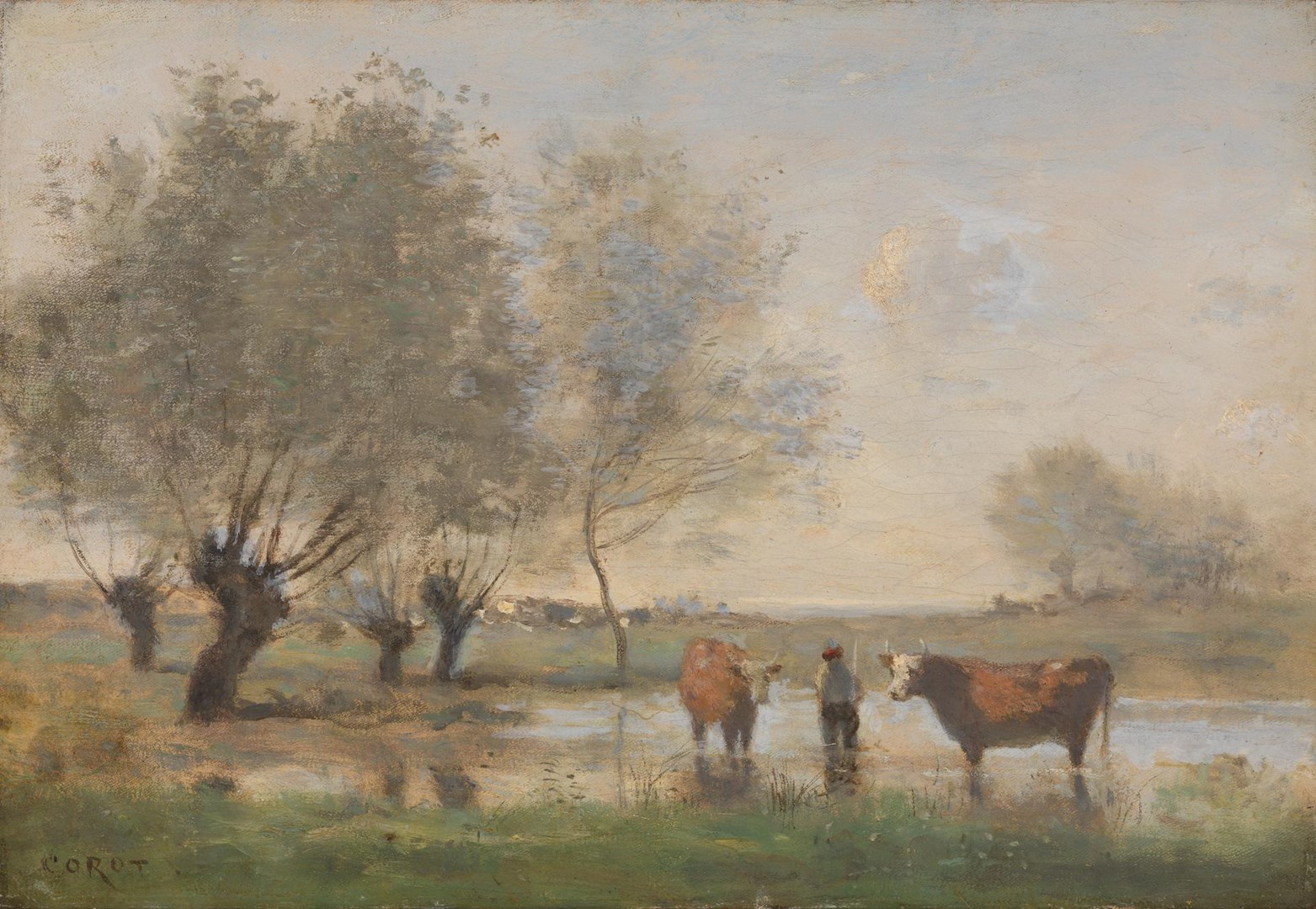 Cows in a Marshy Landscape by Jean-Baptiste-Camille Corot