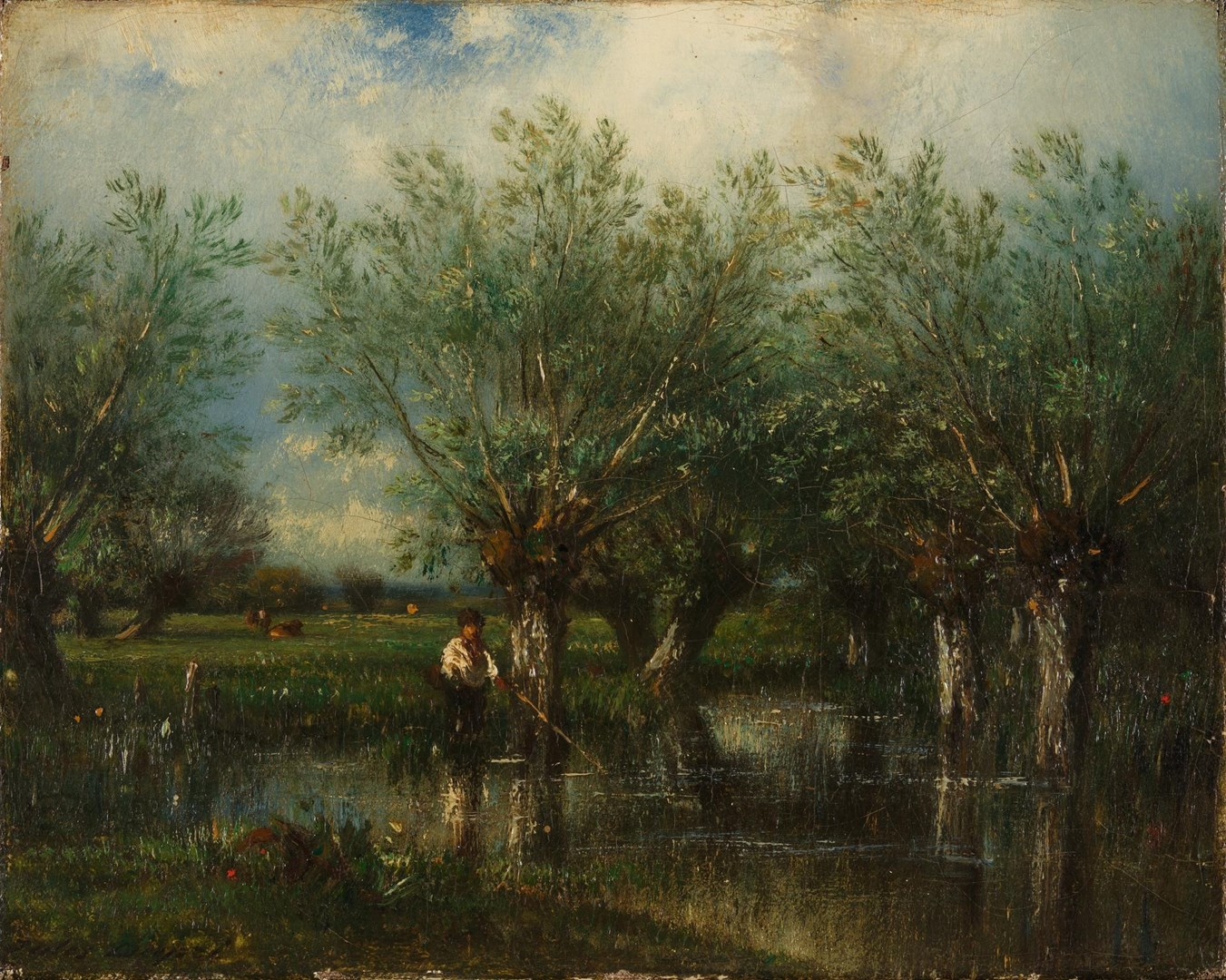 Willows, with a Man Fishing by Jules-Louis Dupré