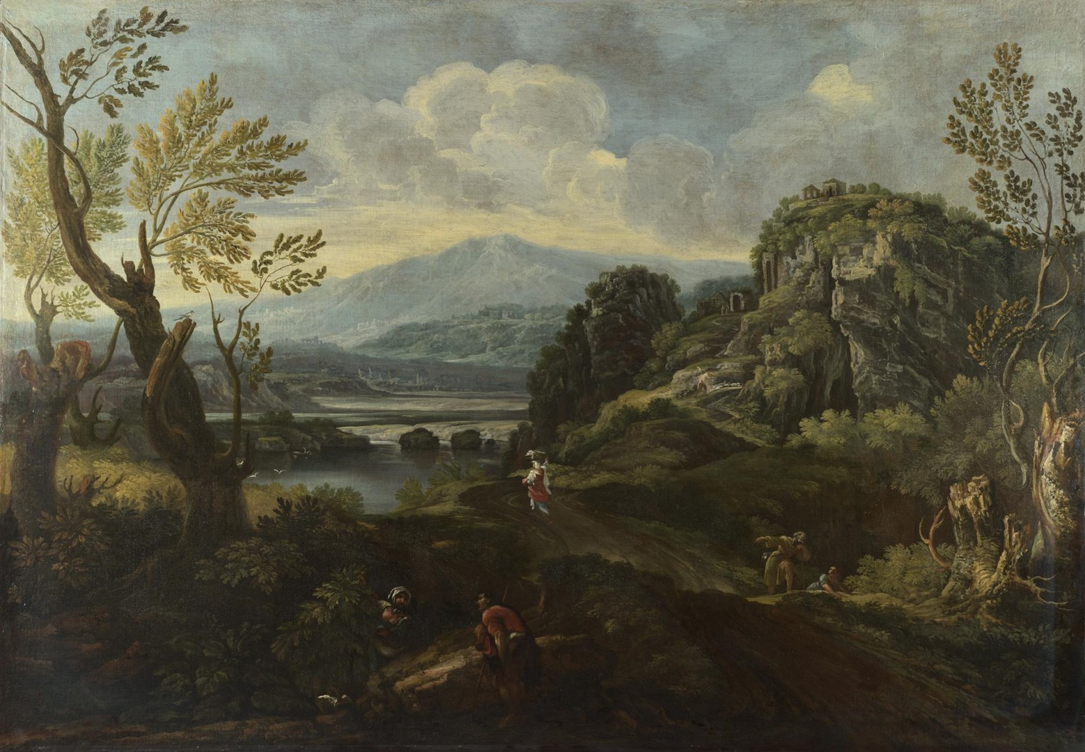Landscape with Figures by Probably by Crescenzio Onofri