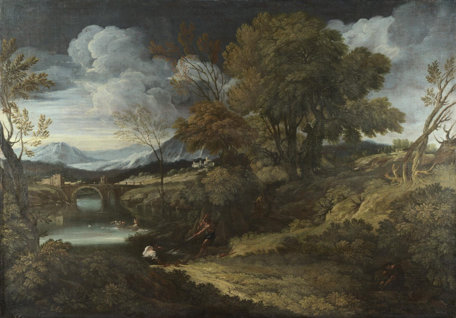 Landscape with Fishermen by Crescenzio Onofri