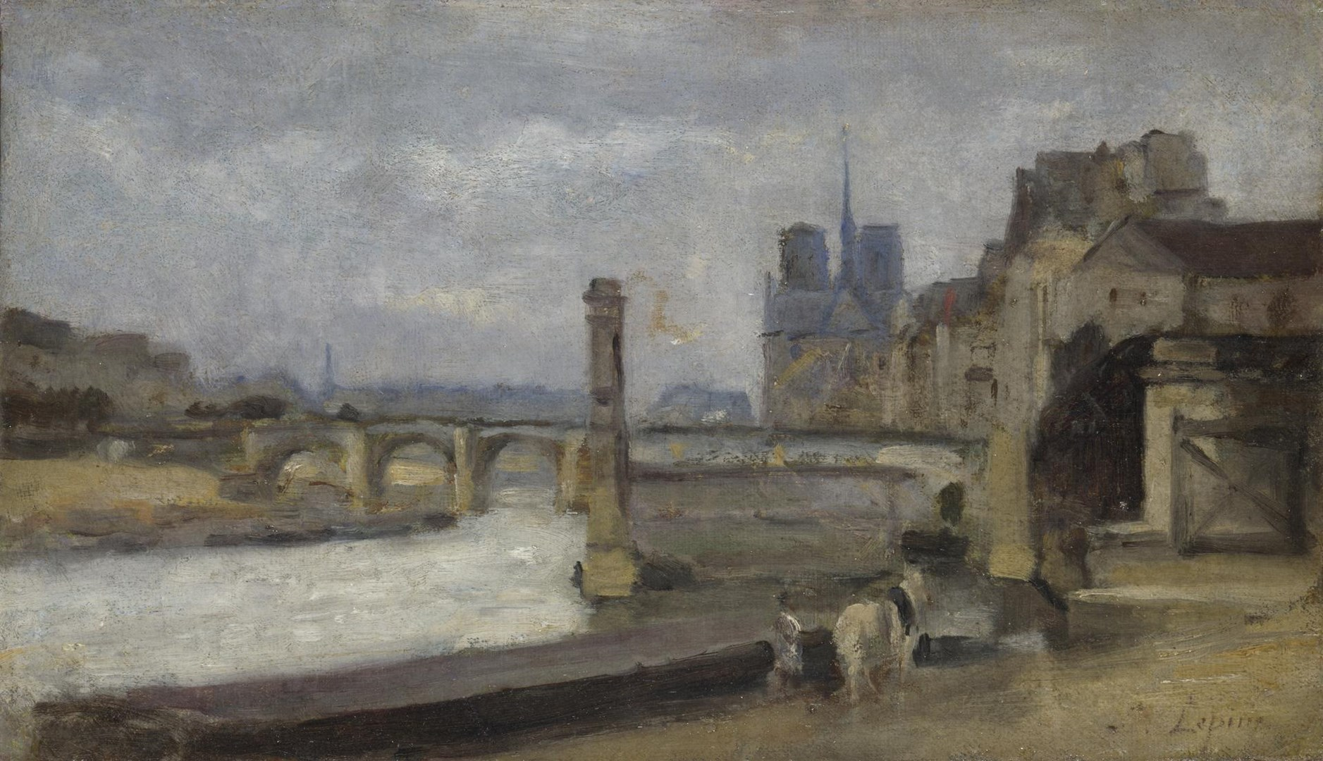 The Pont de la Tournelle, Paris by Stanislas-Victor-Edmond Lépine