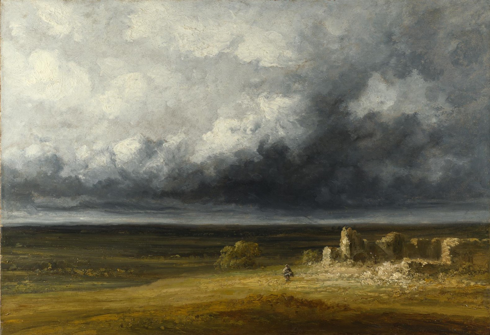 Stormy Landscape with Ruins on a Plain by Probably by Georges Michel