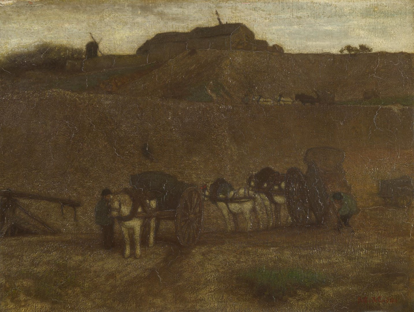 Men unloading Carts, Montmartre by Matthijs Maris