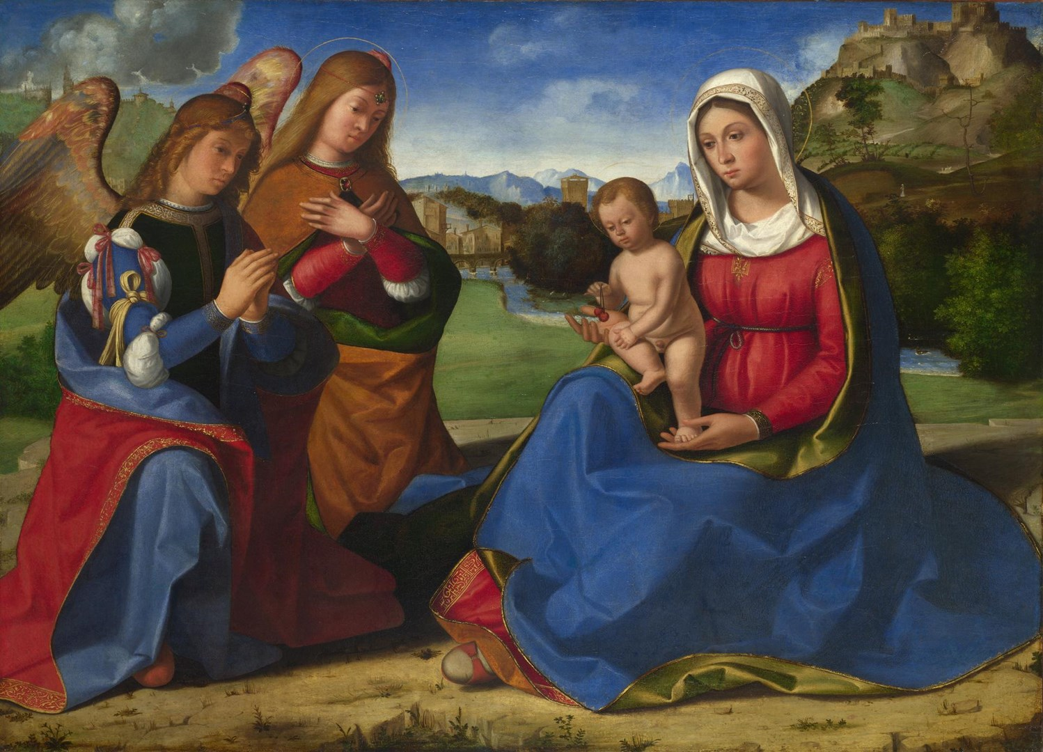 The Virgin and Child adored by Two Angels by Andrea Previtali