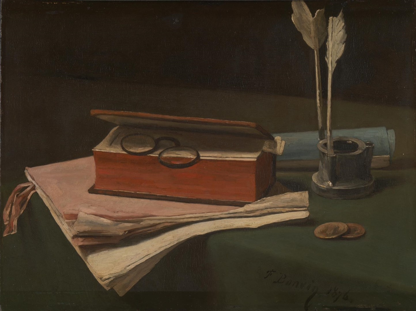 Still Life with Book, Papers and Inkwell by François Bonvin