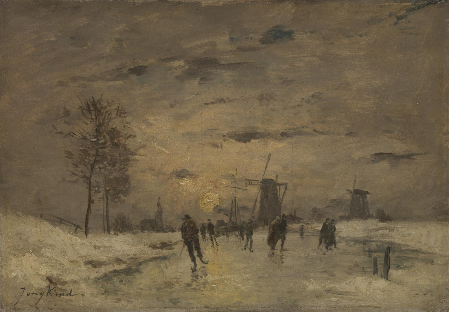 Skating in Holland by Imitator of Johan Barthold Jongkind