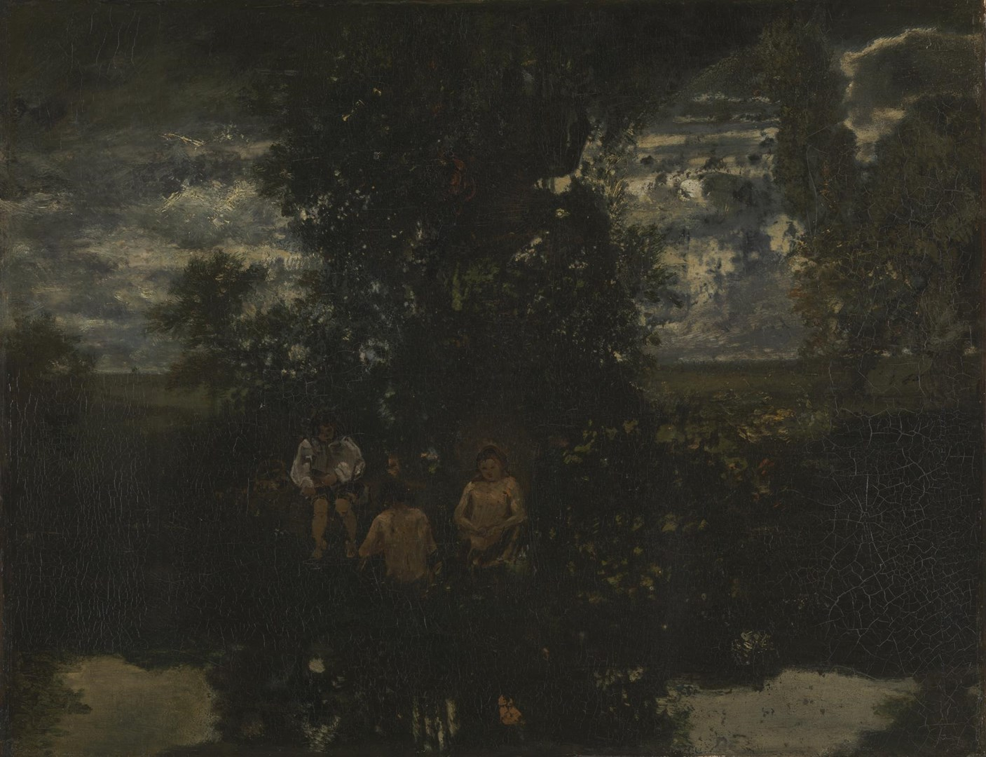 Moonlight: The Bathers by Imitator of Théodore Rousseau