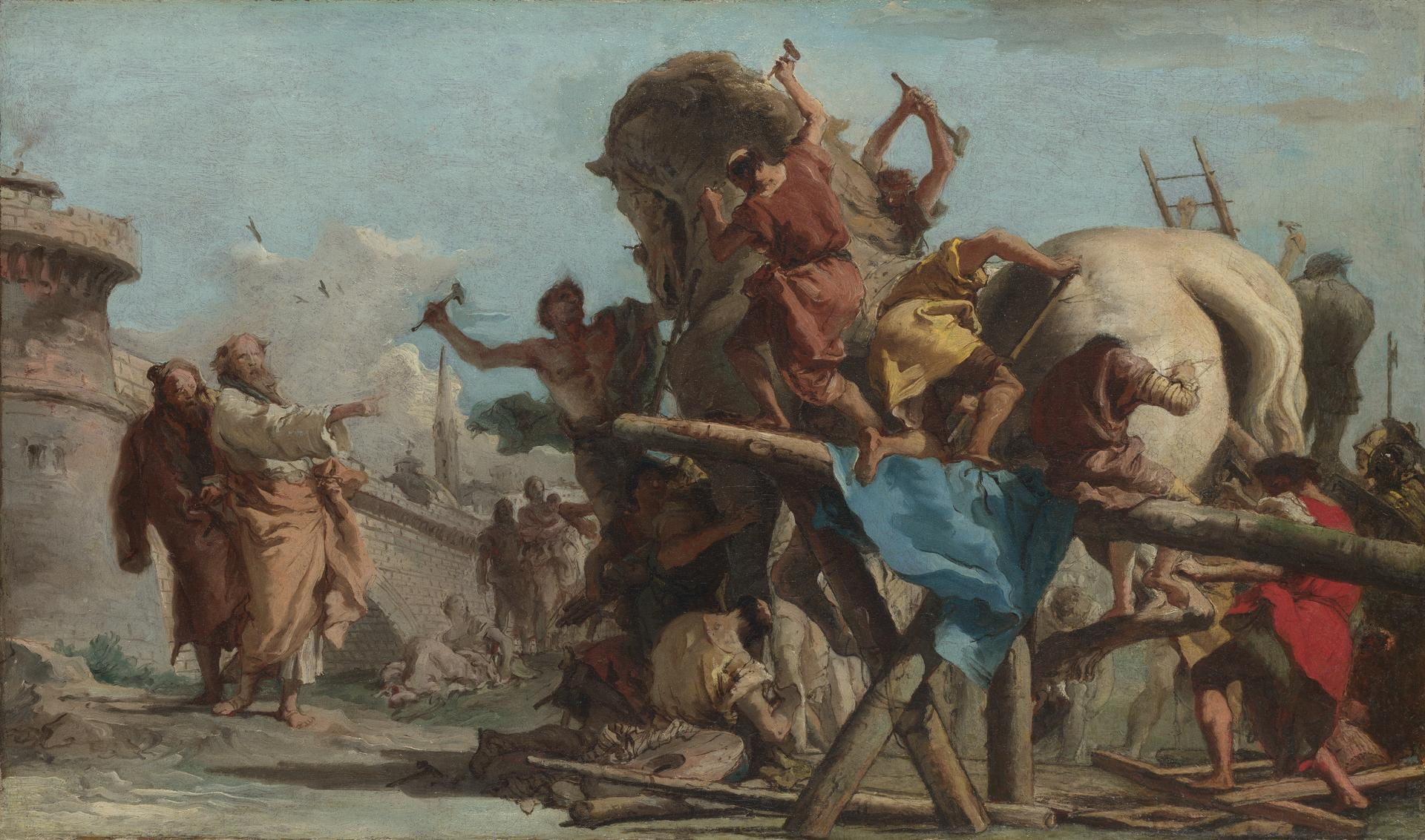 Giovanni Domenico Tiepolo The Building Of The Trojan Horse Ng3318 National Gallery London
