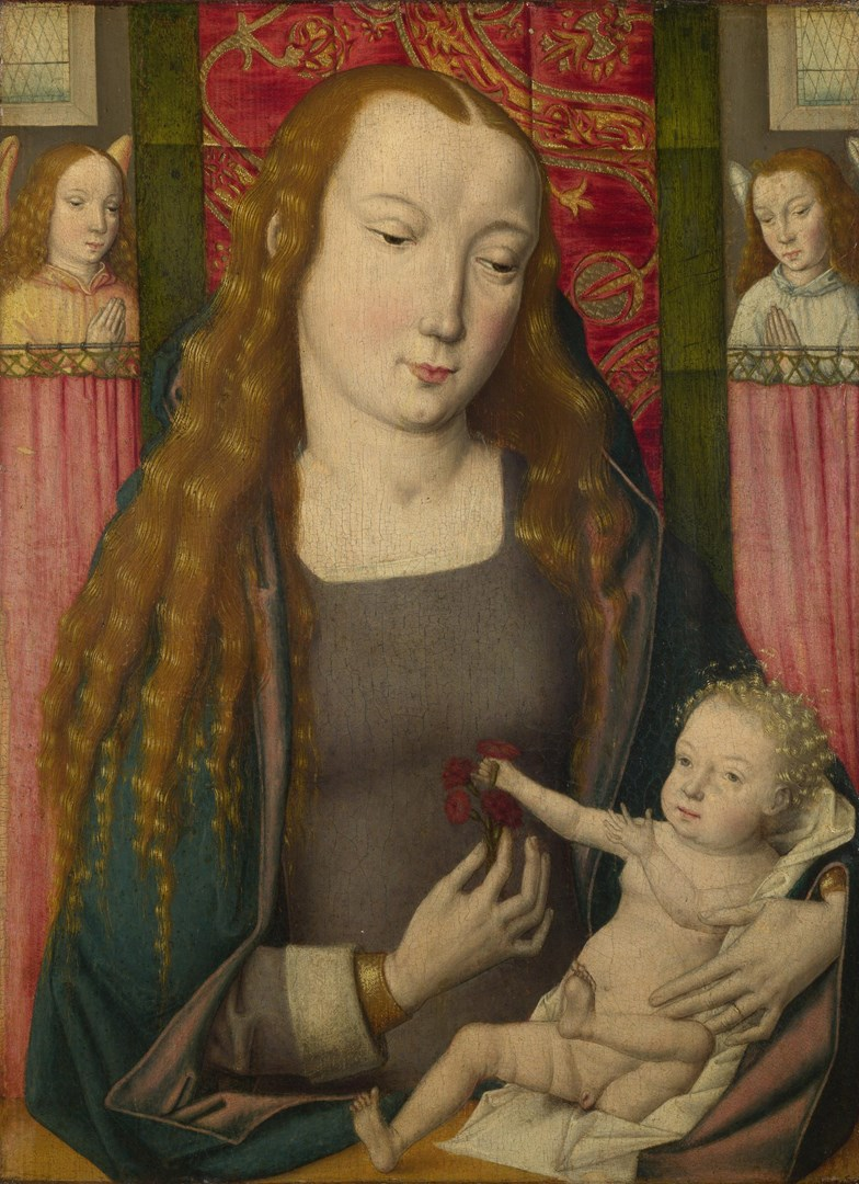 The Virgin and Child with Two Angels by Follower of the Master of the Saint Ursula Legend (Bruges)