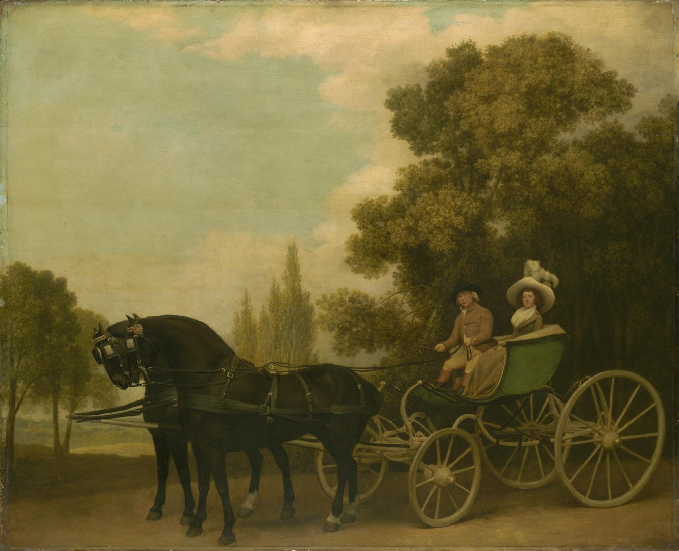 A Gentleman driving a Lady in a Phaeton by George Stubbs