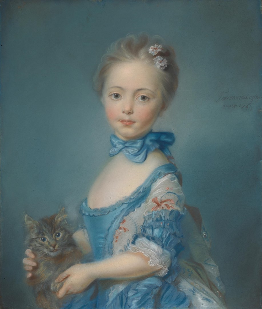 A Girl with a Kitten by Probably by Jean-Baptiste Perronneau