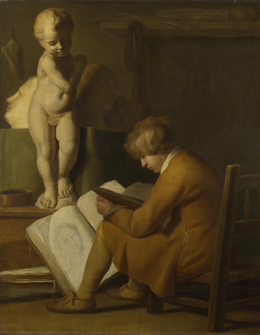 A Boy seated Drawing by After Wallerant Vaillant