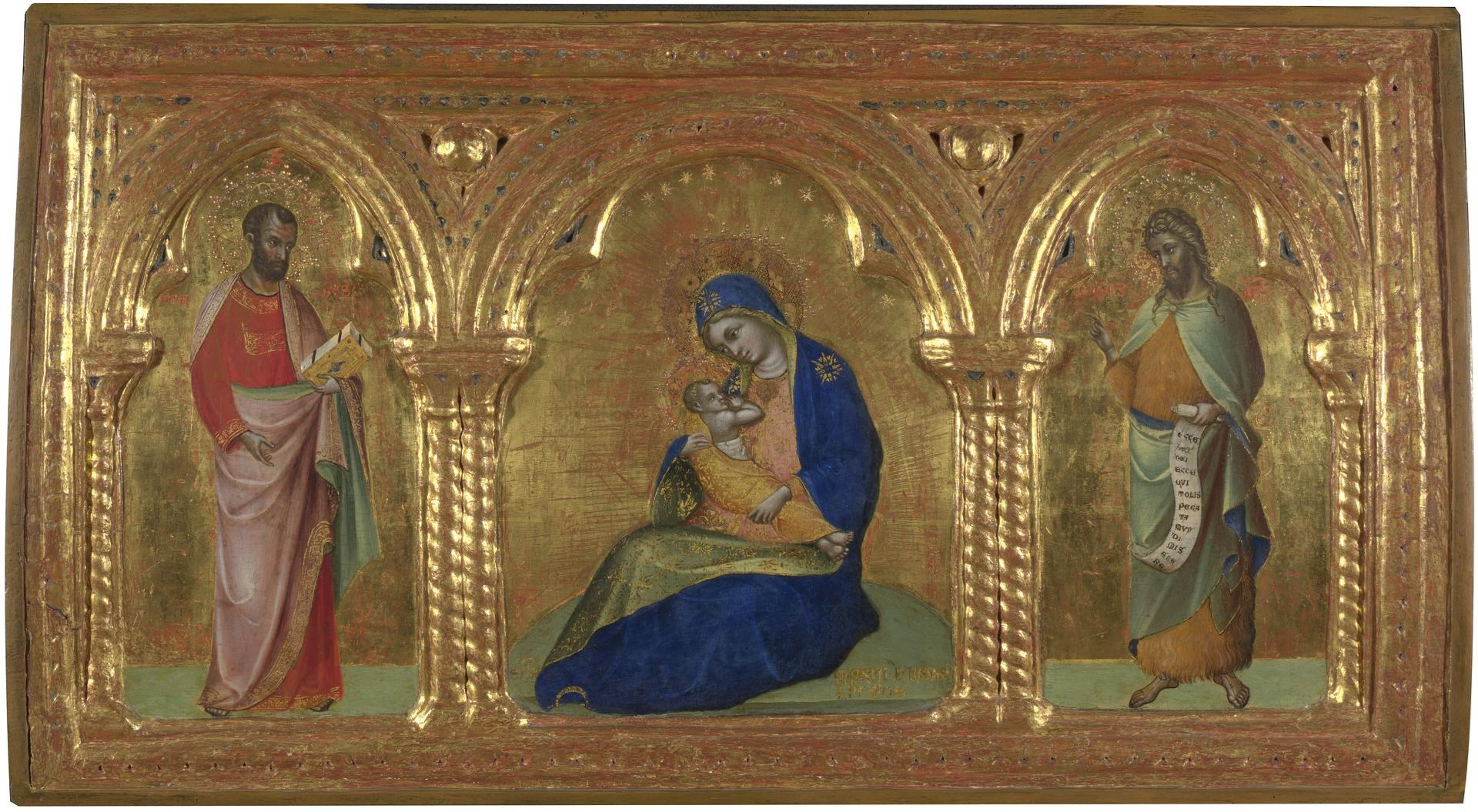 The Madonna of Humility with Saints Mark and John by Lorenzo Veneziano