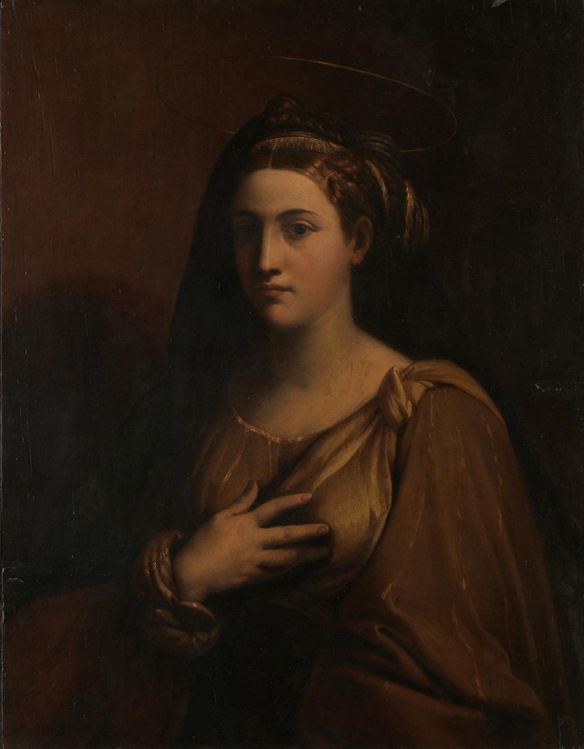 A Female Saint by Italian, Ferrarese or Bolognese follower of Raphael