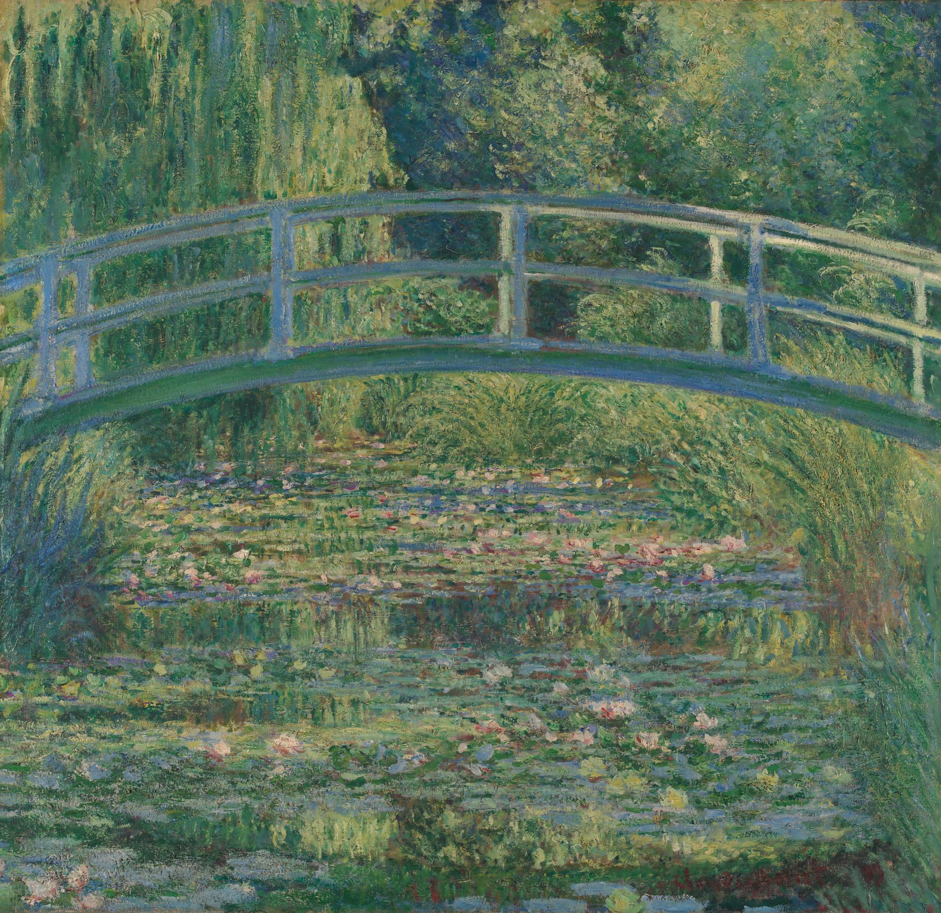 Pond original painting Monet style Artwork,Summer landscape with a bridge