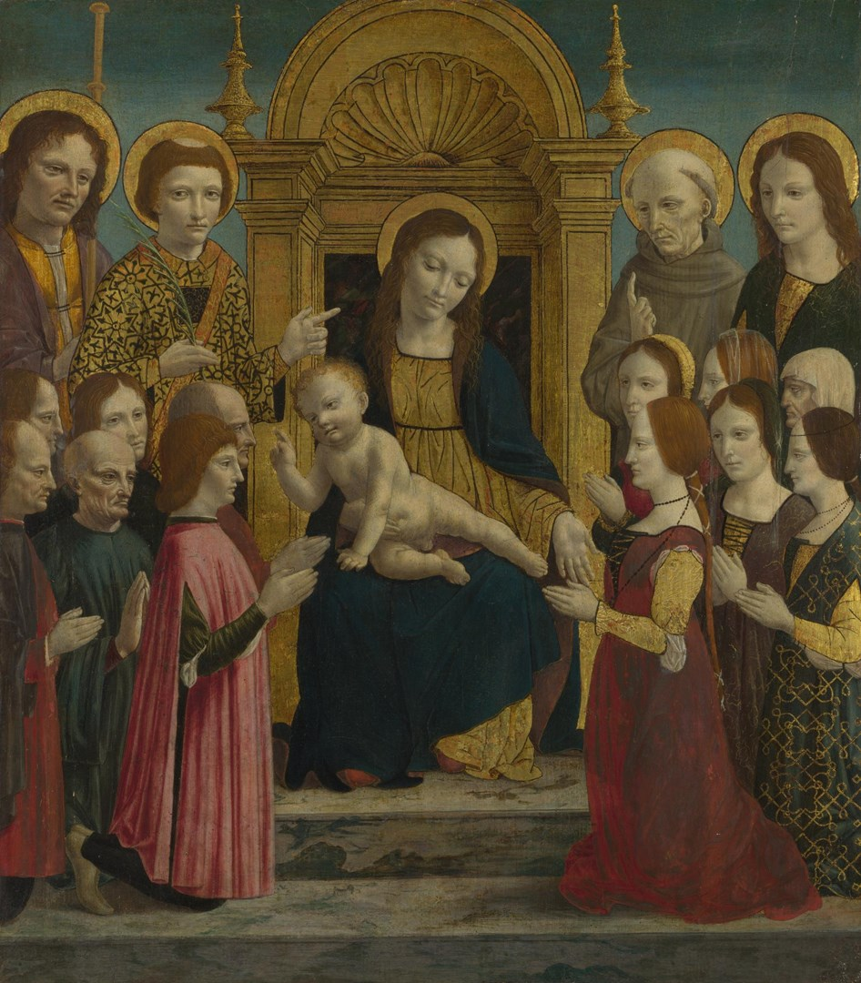 The Virgin and Child with Four Saints and Twelve Devotees by Master of the Pala Sforzesca