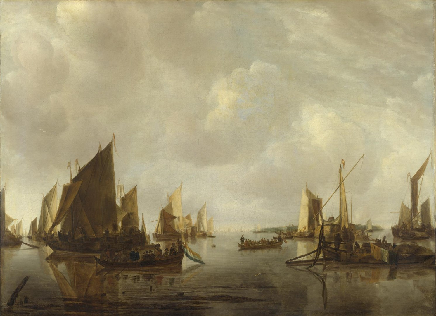 A River Scene with Dutch Vessels Becalmed by Jan van de Cappelle