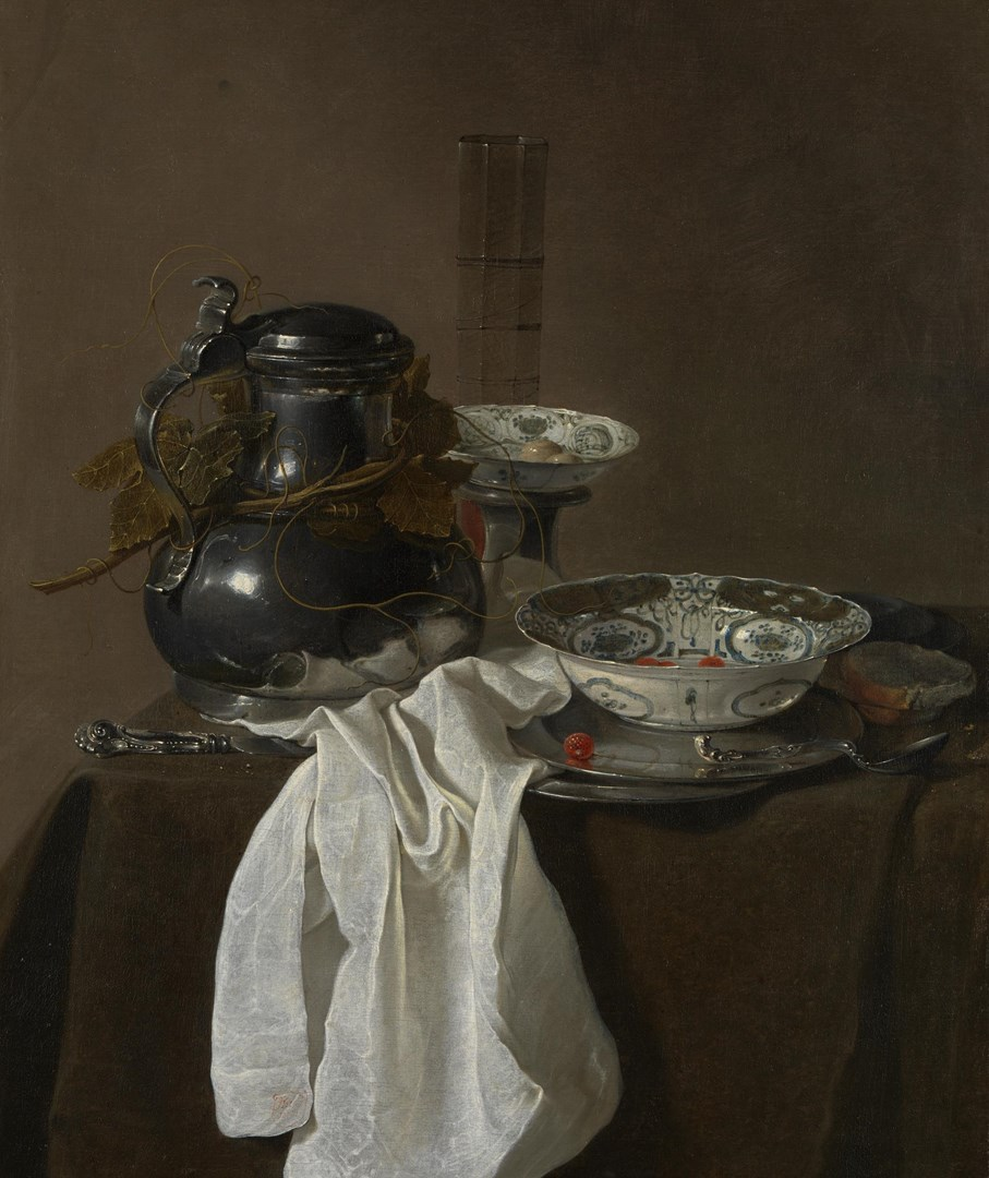 Still Life with a Pewter Flagon and Two Ming Bowls by Jan Jansz. Treck