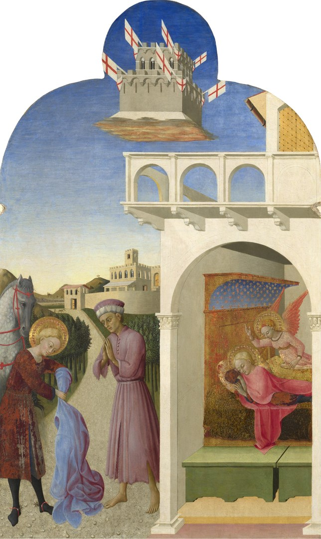 Saint Francis and the Poor Knight, and Francis's Vision by Sassetta