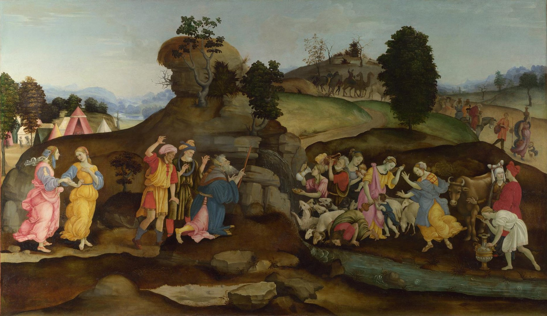 Moses brings forth Water out of the Rock by Follower of Filippino Lippi