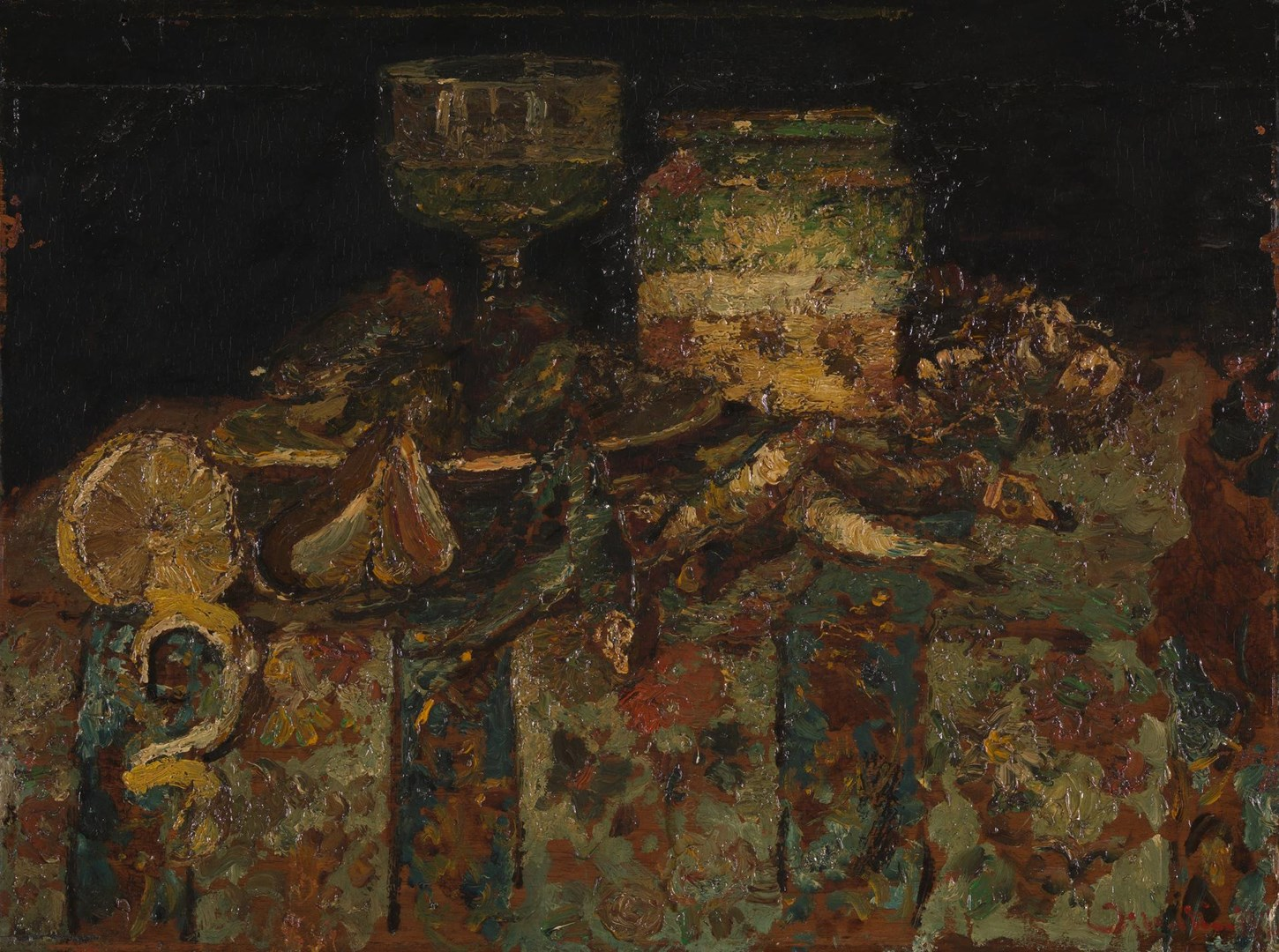 Still Life: Oysters, Fish by Adolphe Monticelli