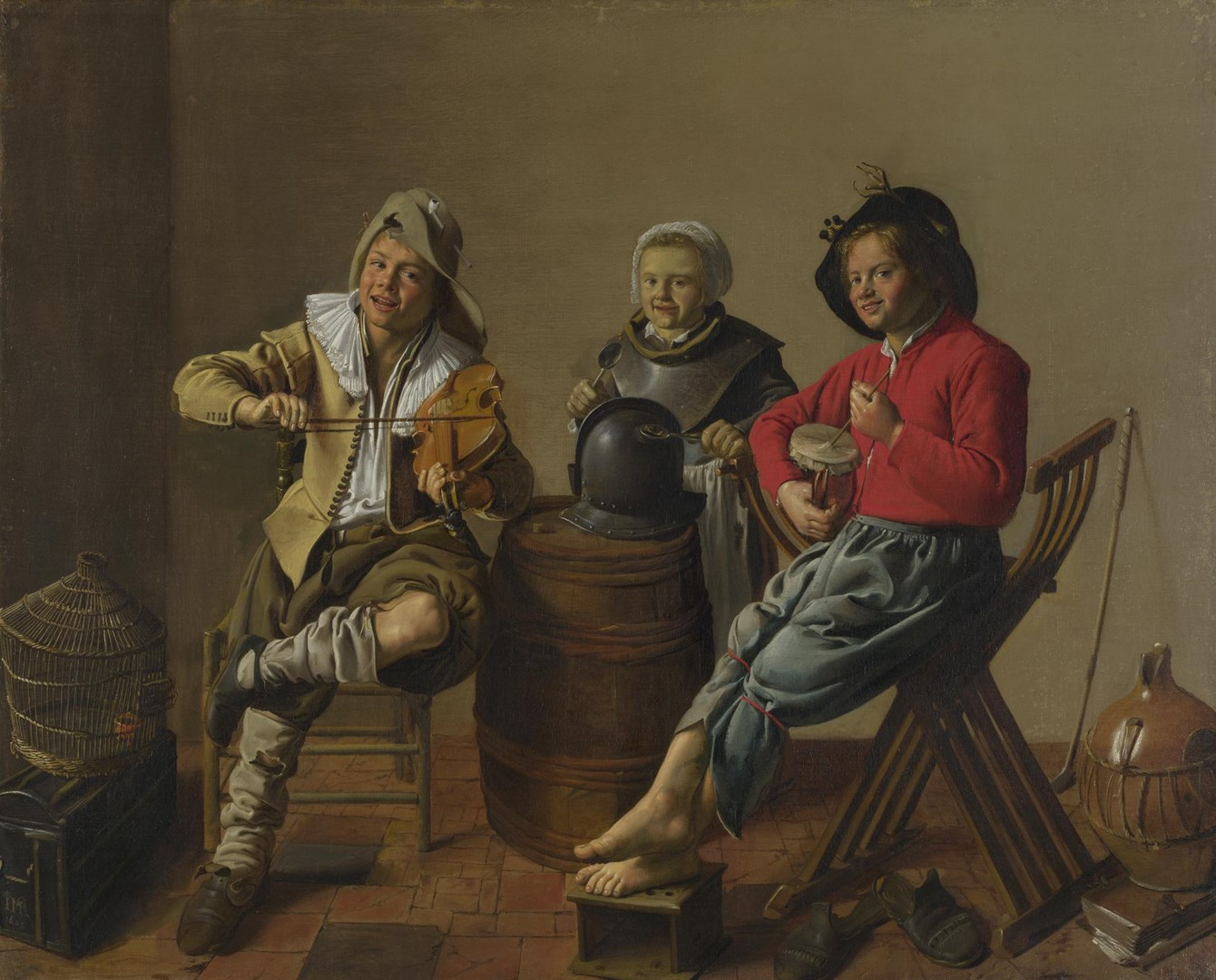 Two Boys and a Girl making Music by Jan Miense Molenaer
