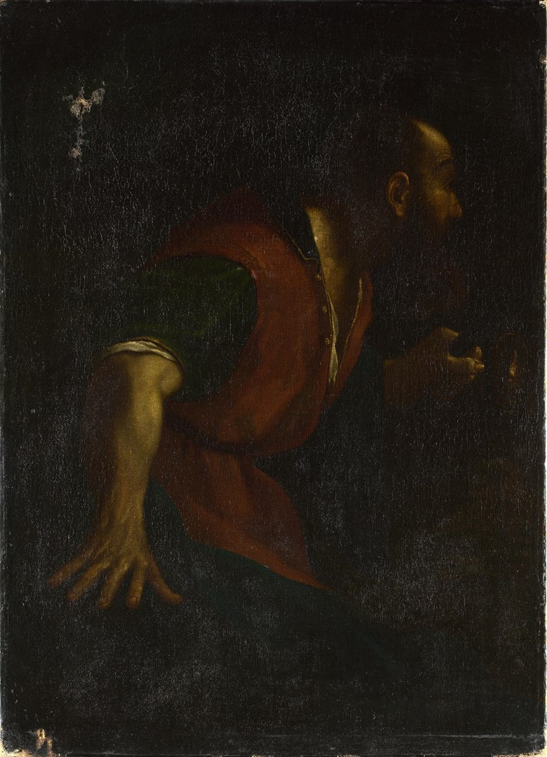 A Bearded Man holding a Lamp by After Guercino