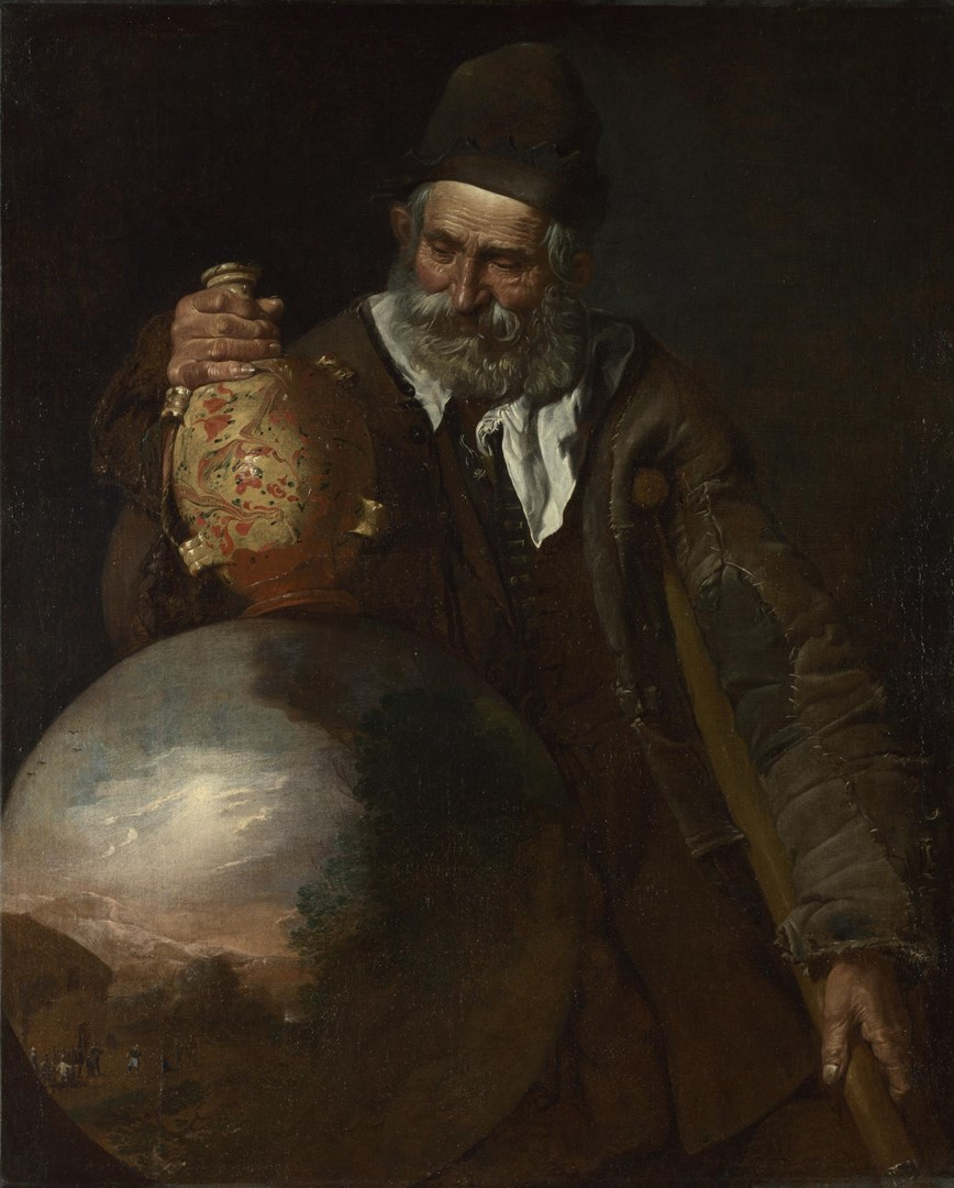 An Old Man holding a Pilgrim-Bottle by Italian