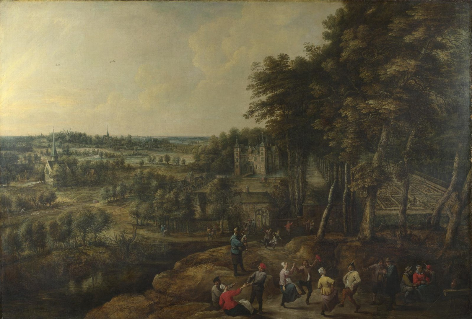 Peasants merry-making before a Country House by Lucas van Uden and David Teniers the Younger