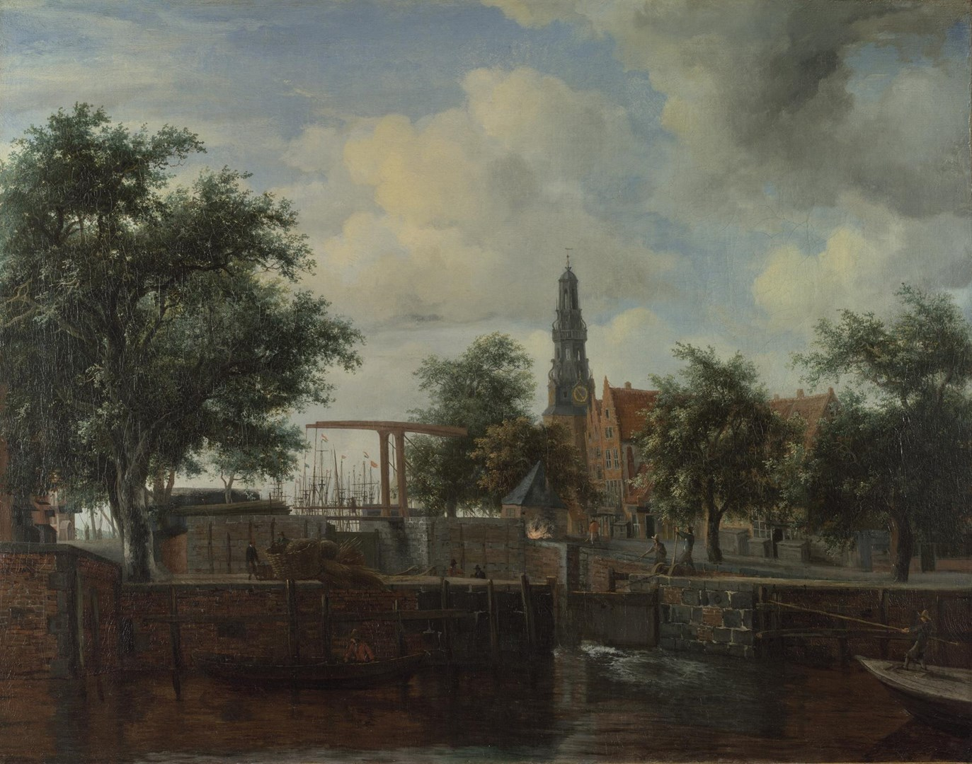 The Haarlem Lock, Amsterdam by Meindert Hobbema