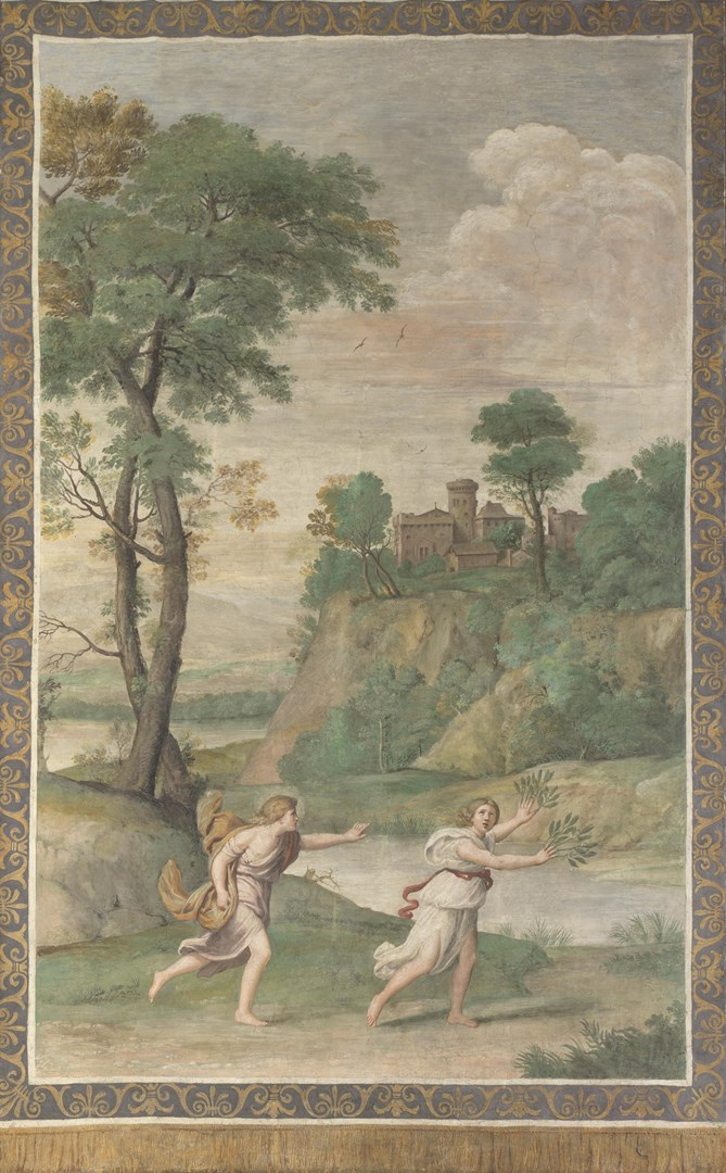 Apollo pursuing Daphne by Domenichino and assistants