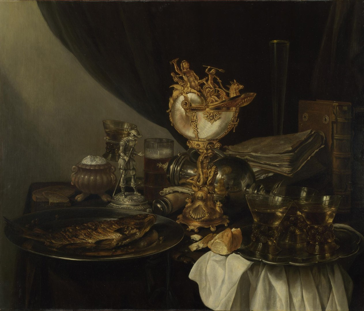 Still Life with a Nautilus Cup by Probably by Gerrit Willemsz. Heda