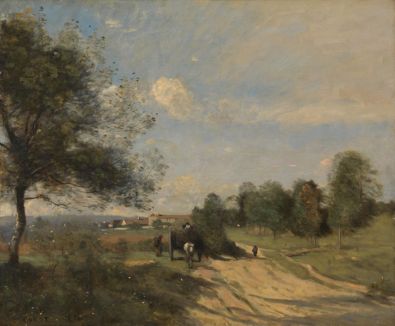 The Wagon ('Souvenir of Saintry') by Jean-Baptiste-Camille Corot
