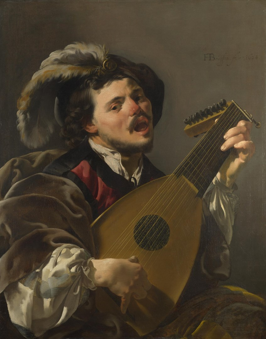 A Man playing a Lute by Hendrick ter Brugghen