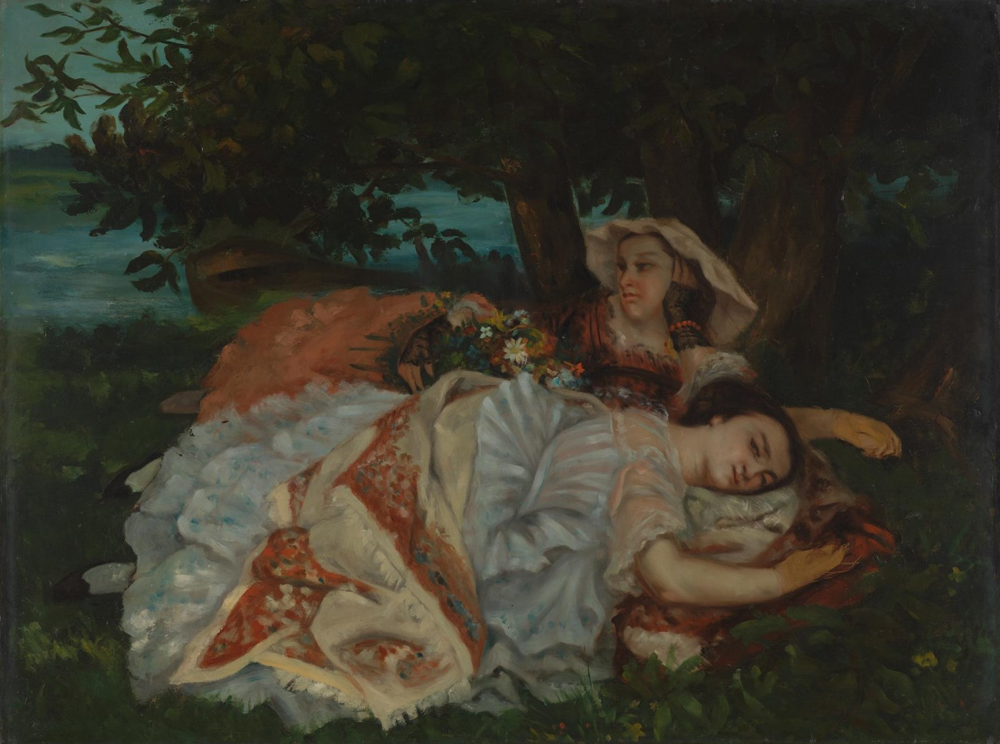 Young Ladies on the Banks of the Seine (Summer) by Possibly after Gustave Courbet