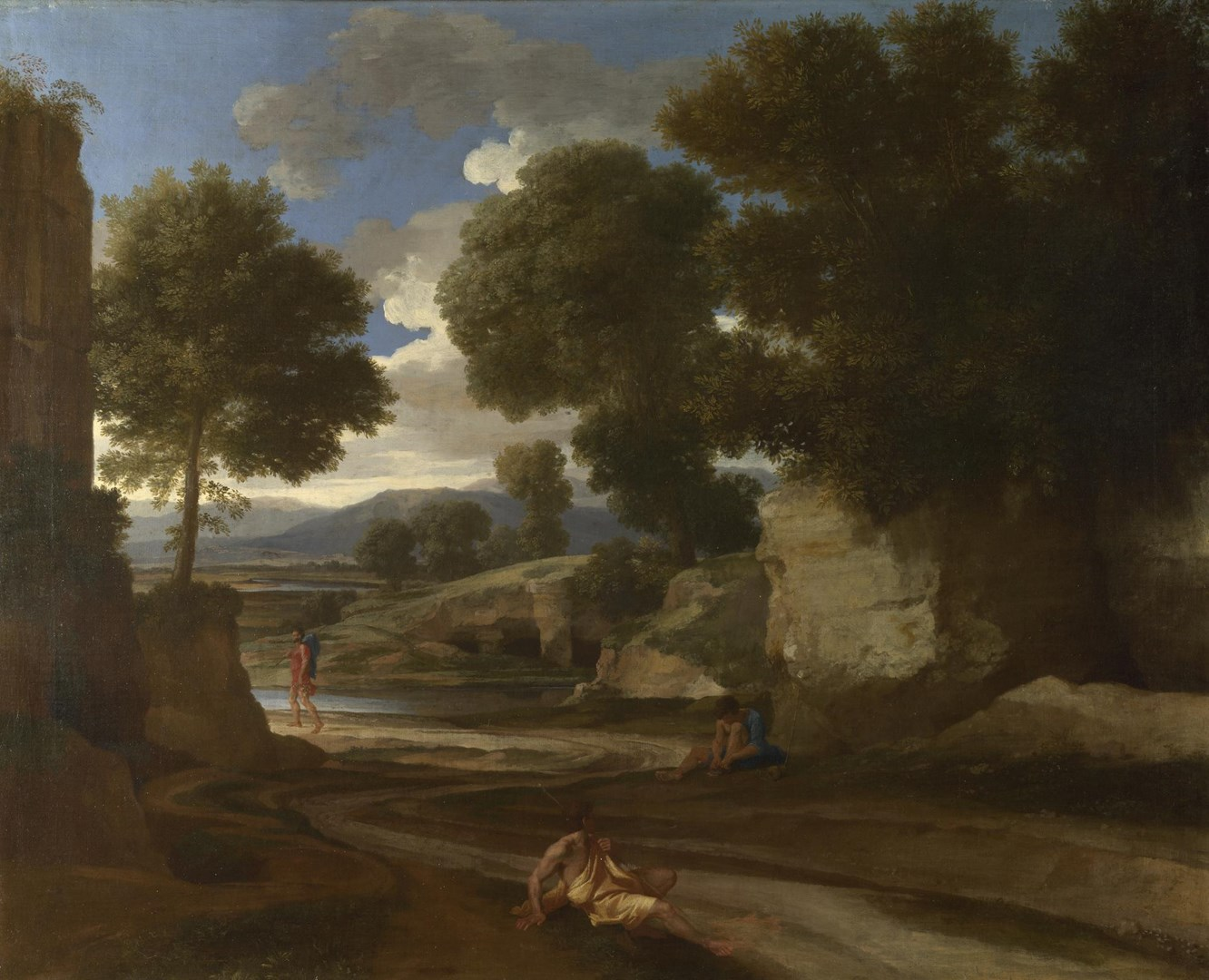 Landscape with Travellers Resting by Nicolas Poussin