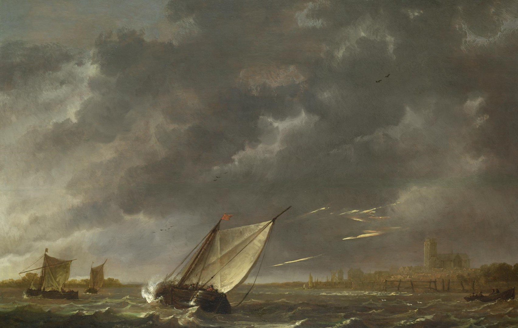 The Maas at Dordrecht in a Storm by Aelbert Cuyp