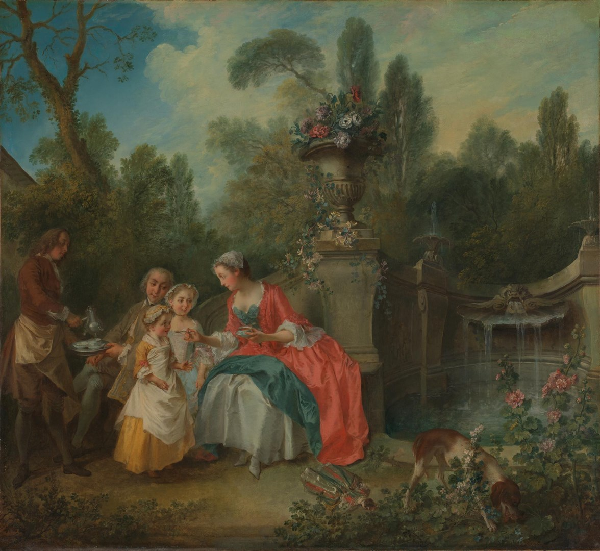A Lady in a Garden having Coffee with Children by Nicolas Lancret
