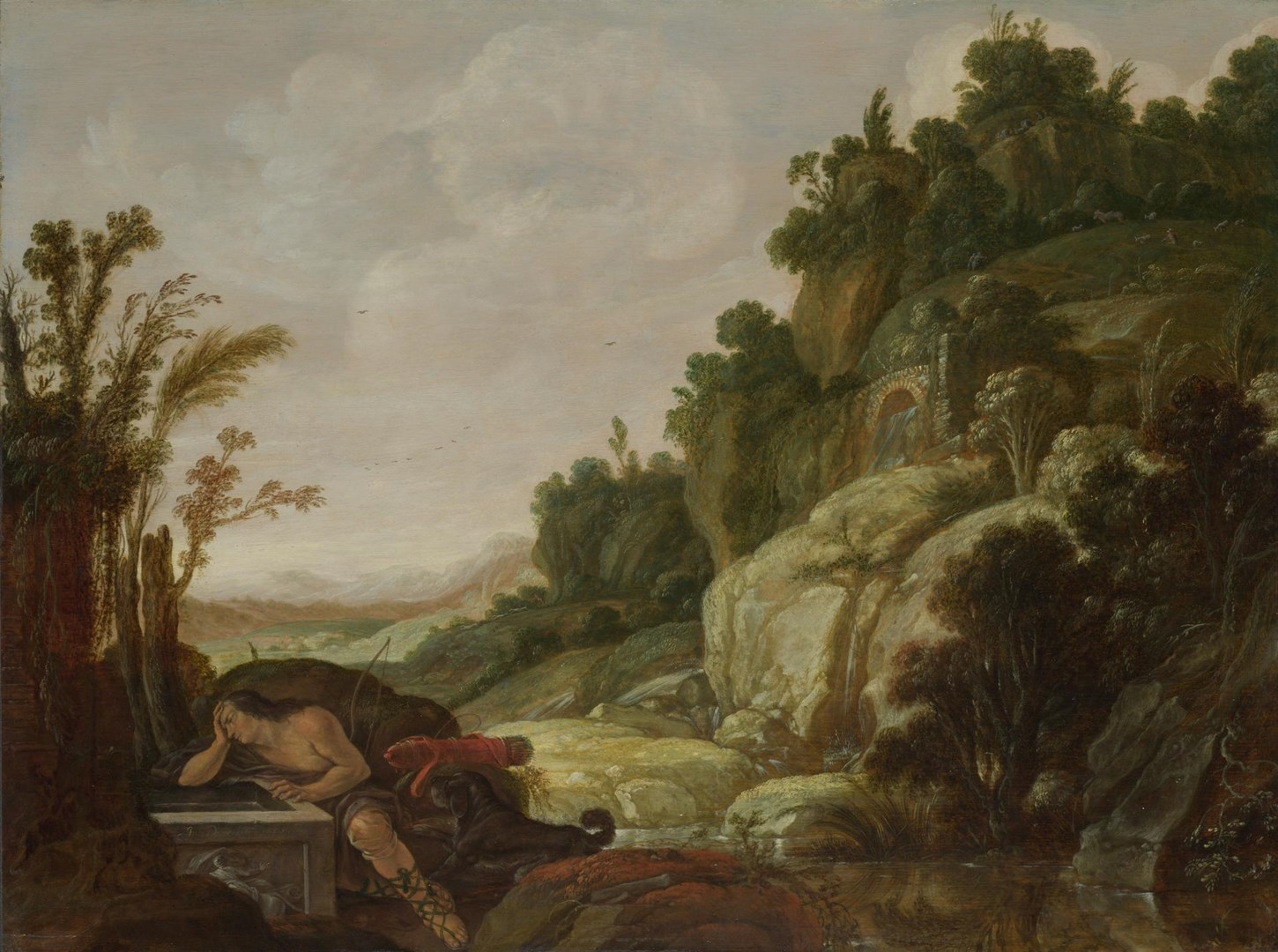 Mountain Landscape with Narcissus by Jacob Pynas