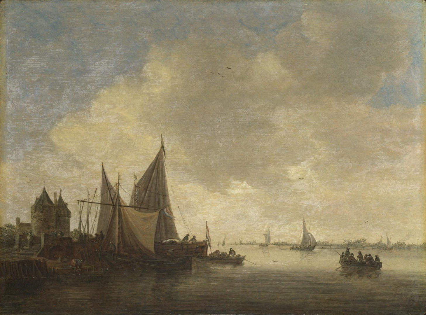 The Mouth of an Estuary with a Gateway by Jan van Goyen