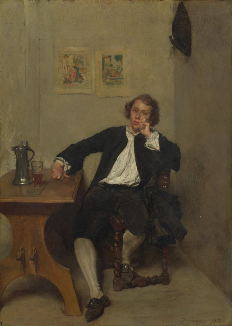 A Man in Black smoking a Pipe by Jean-Louis-Ernest Meissonier