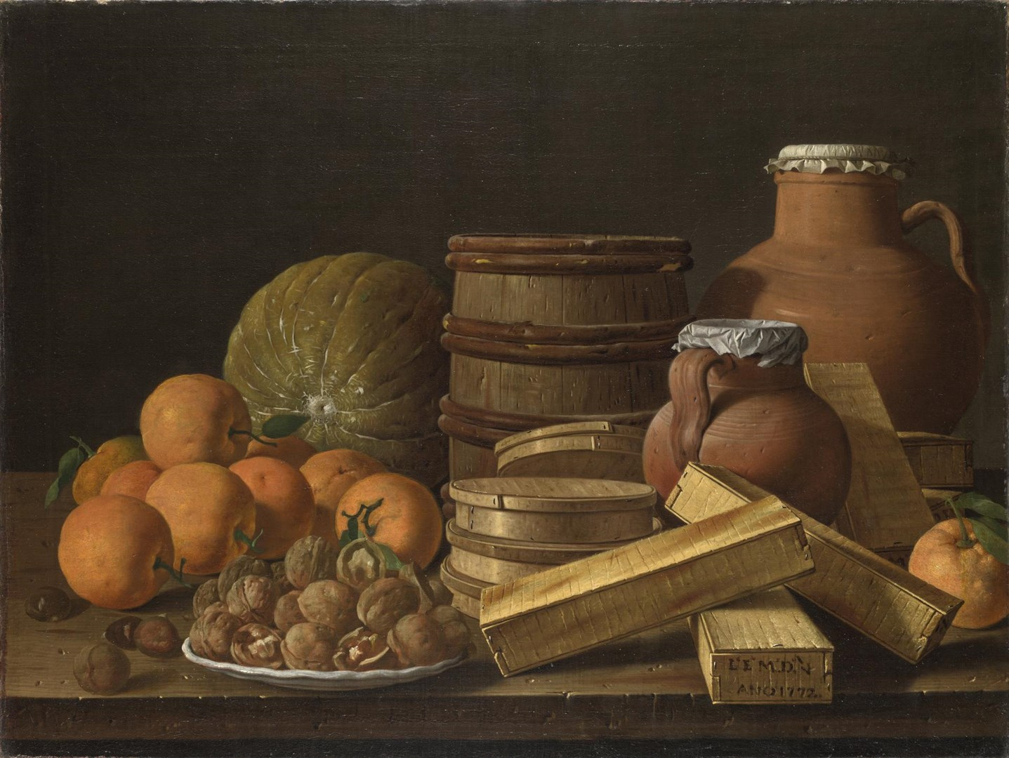 Still Life with Oranges and Walnuts by Luis Meléndez