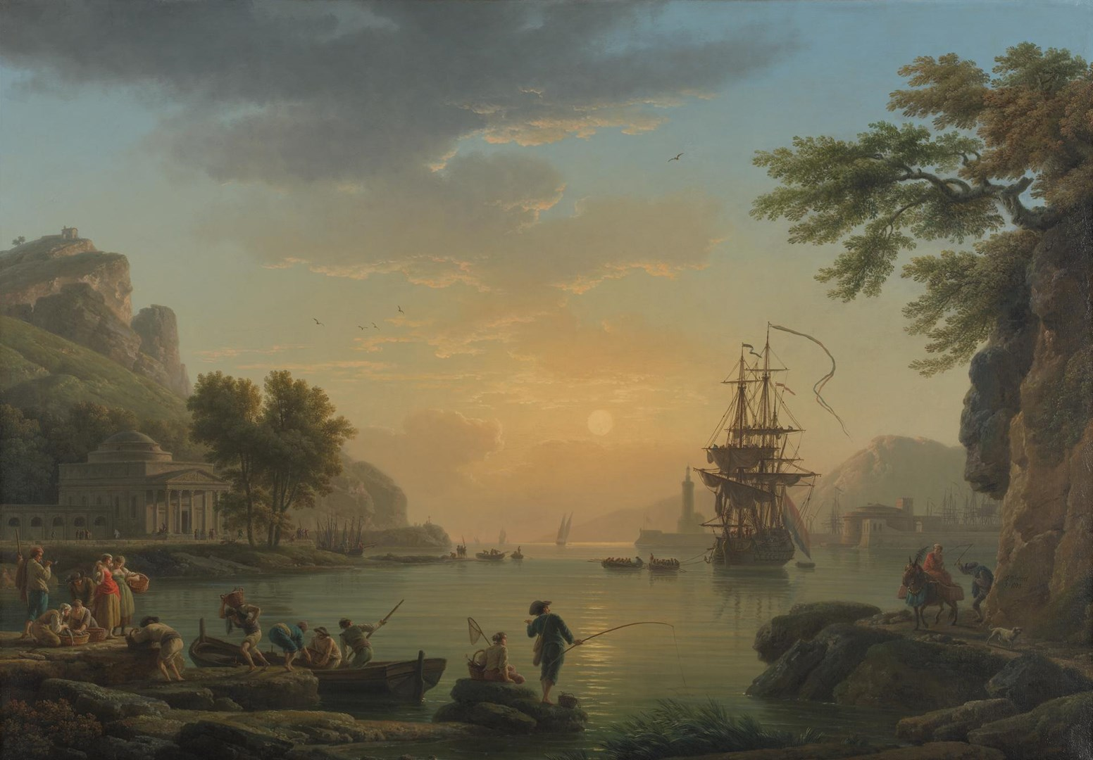 A Landscape at Sunset by Claude-Joseph Vernet